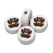 ANIMALS CERAMIC BEADS BEAR TEDDY 21mm DISC WHITE BASE DARK BROWN BEAR GOLD BOW 20pc