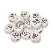 ANIMALS CERAMIC BEADS OWL BIRD FACE 14mm DISC OFF WHITE BASE DARK BROWN/TEAL DETAILS 25pc