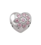 Persona Sterling silver LOVE BLOOMS IN PINK Charm fits Pandora, Troll & Chamilia European Charm Bracelets