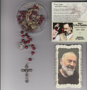 Saint Padre Pio Rose Scented Rosary with Case, 2 Holy Cards and Mysteries Pamphlet