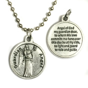 Guardian Angel Protect Protection Medal Pendant Charm with Prayer 60cm Ball Chain Necklace Made in Italy Silver Tone 1.9cm