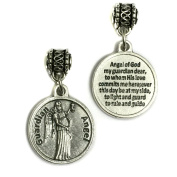 Guardian Angel Protect Protection Medal Pendant Charm with Prayer Made in Italy Silver Tone 1.9cm