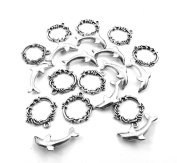 Set of Ten (10) Silver Tone Pewter Dolphin & Waves Toggle Clasps