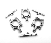 Set of Three (3) Silver Tone Pewter Turtle Toggle Clasps