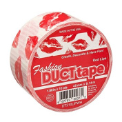 Signature Crafts DT210LIPWH Printed Singles Red Lips on White Fashion Duct Tape, 10 yd 4.8cm