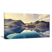 """Designart PT6929-80cm - 41cm Norway Summer Mountains Landscape Photo"""" Canvas Print, Blue, 80cm x 41cm"""
