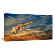 "Designart PT6921-100cm - 80cm Giraffe On sand Dune Animal Photography"" Canvas Print, Blue, 100cm x 80cm"