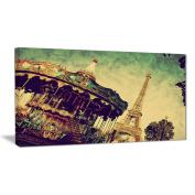 """Designart PT6701-100cm - 50cm Paris Eiffel Tower Retro Style Landscape"""" Canvas Print, Brown, 100cm x 50cm"""