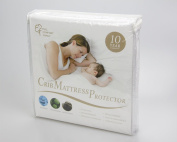 Full Comfort Family Crib Premium Hypoallergenic Waterproof Mattress Protector-breathable Soft & Noiselless Organic Cotton Terry-fitted Style-vinyl Free-blocks Dust Mites & Allergens