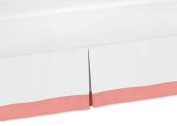 White and Coral Toddler Bed Skirt for Girls Diamond Kids Childrens Bedding Sets