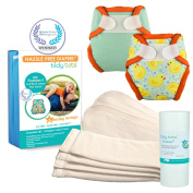 Tidy Tots Nappy Hassle Free 4 Nappy Hook & Loop Newborn Essential Set With Duckies and Sea Mist Covers
