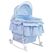 Dream On Me Lacy Portable 2 In 1 Bassinet And Cradle In Light Blue
