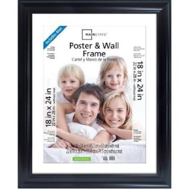 Classic Styles Mainstays Decor 22x28 Matted to 18x24 Wide Black Poster and Picture Frame