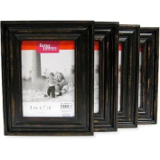 Decorative Better Homes and Gardens Distressed Black Wood 13cm x 18cm Picture Frames, Set of 4