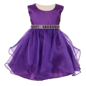 Baby Girls Purple Organza Taffeta Rhinestone Cascade Occasion Dress 6-24M