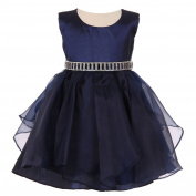 Baby Girls Navy Organza Taffeta Rhinestone Cascade Occasion Dress 6-24M