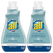 All Fresh Clean ESSENTIALS Sulphate Free Laundry Detergent, Fragrance Free, 30 Fluid Ounce, 2 Count