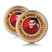 The Bearded Goon's RIDICULOUSLY STRONG Beard & Handlebar Moustache Wax (2 Tins) - The Strongest Hold for Moustache, Beards, and Facial Hair - 1oz (30ml) each by The Bearded Goon