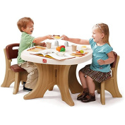 Durable New Traditions Kid's Table and 2 Chairs Set, Brown