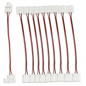 elcPark 10pcs Double Clip-on Connector Cable 2 Pin for W/10mm 5050 5630 LED Strip Light