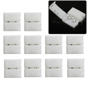 elcPark 10pcs 10mm 2 Pin Solderless Connector Clip End for SMD 5630 5050 Single Colour LED Strip Light Strip to Strip
