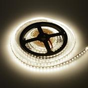 elcPark 16.4ft/5m Warm White SMD 2835 600LEDs Flexible LED Strip Light Non-Waterproof IP20 DC12V Super Bright 15lm/led 3000K Indoor Lightings