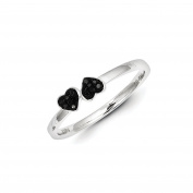 0.04 Cttw Black Diamond (I2-I3 clarity) Double Heart Stackable Ring in Sterling Silver