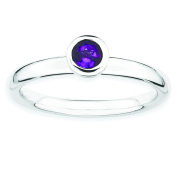 Sterling Silver Stackable Expressions Low 4mm Round Amethyst Ring - Size 8