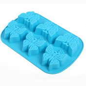 Always Your Chef 6-Cavity Silicone Cupcake Baking Cups Handmade Soap Moulds, Candy Moulds & Chocolates Moulds & Ice Cube Trays,Butterfly Shaped, Random Colour