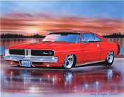 1969 Dodge Charger RT Muscle Car Art Print Red 11x14