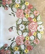 Embroidered Pink Rose 180cm Dresser Scarf Table Runner Doily