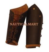 Knights Battle Arm Bracers, brown leather, LARP
