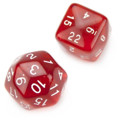 Wiz Dice 24 and 30 Sided Translucent Red Polyhedral Dice - Set of 2 (1 Each)