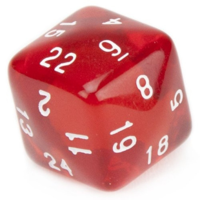 Wiz Dice 24 Sided Translucent Red Polyhedral Die