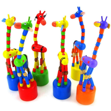 FEITONG® Kids Intelligence Toy Dancing Stand Colourful Rocking Giraffe Wooden Toy