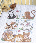 "Brand New Animal Babies Quilt Stamped Cross Stitch Kit-90cm ""X43"""" Brand New"