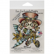 La-La Land Crafts Cling Mount Steampunk Cycle Marci Rubber Stamps, 11cm by 9.5cm