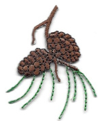 PINE CONES w/PINE NEEDLES /Iron On Embroidered Applique/Trims, Trees, Leaves
