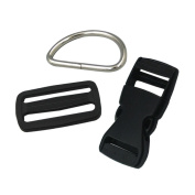 Bluemoona 10 PCS - 2.5cm Plastic Buckle Webbing Dee Rings For Dog Collar Kit Makes