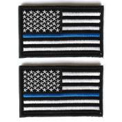 Bundle 2 pieces - US Flag Police law enforcement Thin Blue Line Patch Decorative Embroidered Badge appliques 5.1cm high by 8.1cm wide
