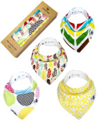 Trendy Kitty Baby Bandana Drool Bibs - Unisex Organic Cotton 4pc gift set for Boys and Girls
