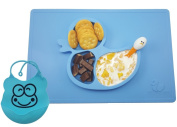 One Piece Silicone Fun Placemat & Plate/Tray with FREE BIB - Self Suction - Blue Duck Design by Elm Tree for Kids, Toddlers & Babies