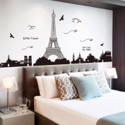 Ussore Eiffel Tower Removable Decor Environmentally Mural Wall Stickers Decal Wallpaper For Kids Home living room bedroom bathroom kitchen Office