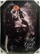 DGA Day of the Dead West Coast Love Stretched Canvas Wood Framed Wall Art 30cm x 41cm - Westcoast