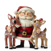Jim Shore for Enesco Santa Hugging Rudolph & Clarice Figurine, 12cm
