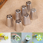 7pcs/set Russian Icing Piping Nozzles Cake Decoration Tips Home Baking DIY Tool Tulip Rose Nozzle Tip