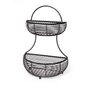 Gourmet Basics by Mikasa Rope 2-Tier Flat Back Metal Basket, Antique Black