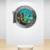 Full Colour Aquarium Fish Tank Porthole Decal Under the Sea Silver Ocean Marine Wall Sticker Kids Bedroom Decoration