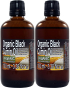 Set of Two (2) bottles of Black Cumin Seed Oil 100ml Each Glass Bottle. 100% pure. Cold Pressed , Extra Virgin , Undiluted , All Process Organic Certified, Premium Quality, Grade A+ (Black Seed Oil Pure Certified), Origin Egypt
