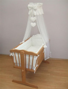 Mosquito Netting Canopy Drape Fits Crib, Moses Basket - Heart White